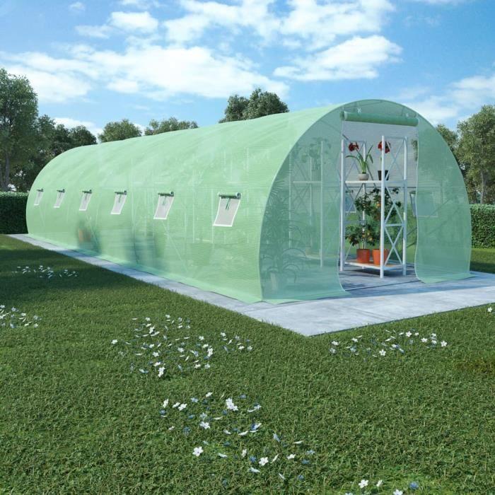 Serre avec fondation en acier 27 m² 900x300x200 cm -QNQ
