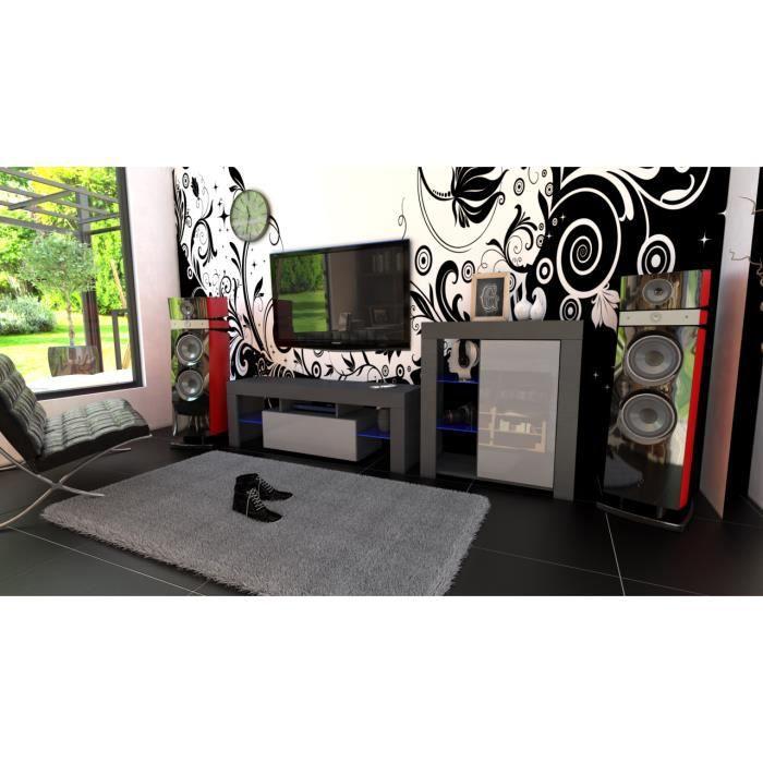 Ensemble de meubles noir mat et gris laqué + led RGB
