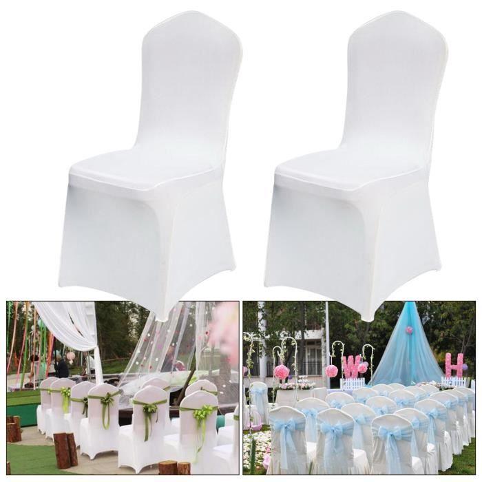 HOMDOX Lot de 100 Housses de chaise - Spandex polyester - Blanc