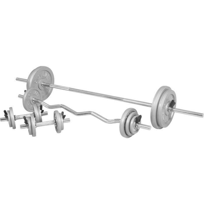 Kit d'haltères de 105,5kg barre longue de 170cm, barre curl de 120cm et deux barres courtes avec stop disques inclus