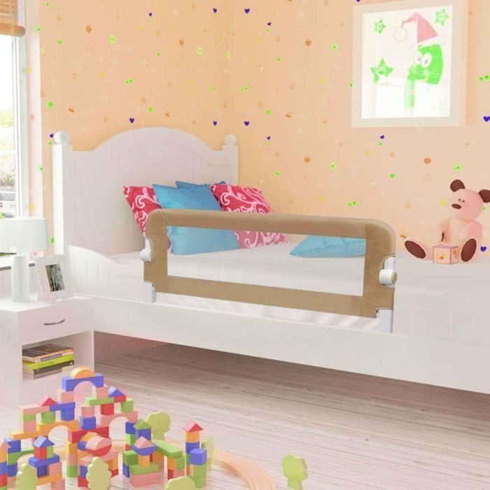Barrière de sécurité de lit enfant pour bébés Taupe 120x42 cm Polyester