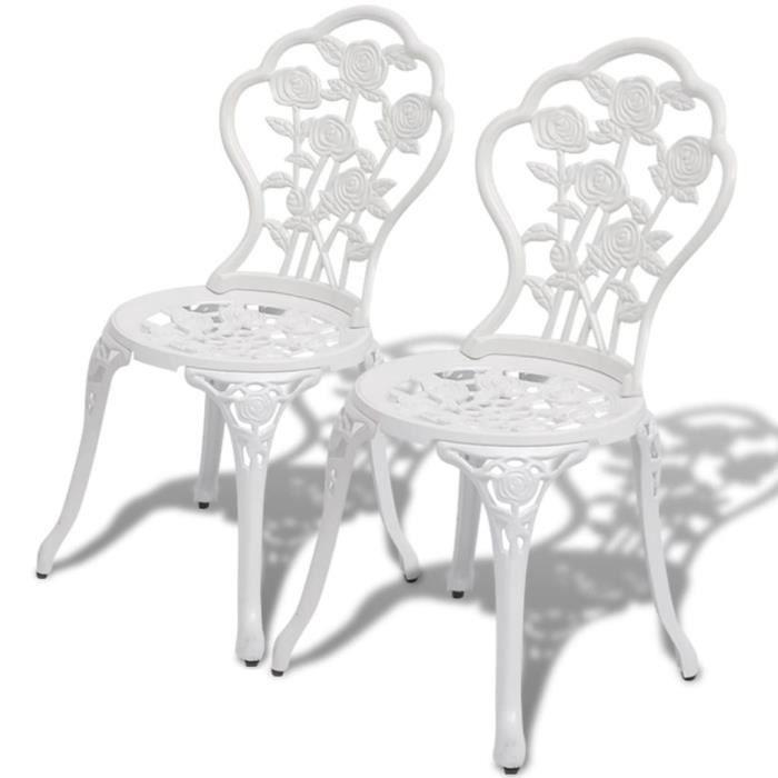 Chaises de bistro 2 pcs Aluminium coulé Blanc