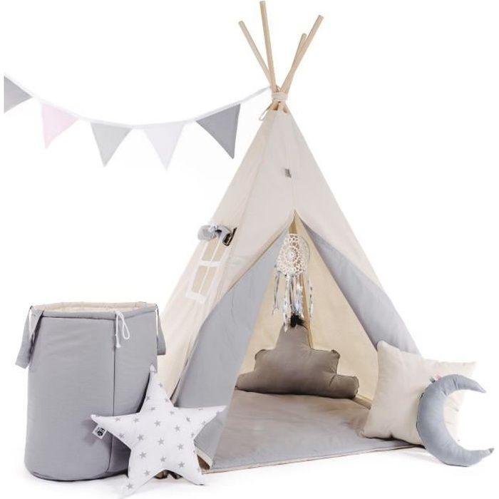 WILLY - Tente de jeu Tipi enfant - Hauteur 160 cm - Tente cabane intérieur extérieur fille garçon - 8 poteaux inclus - Beige
