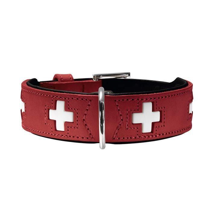 HUNTER Hundehalsband Swiss, Collier de chien en cuir, 60, Rouge-Noir