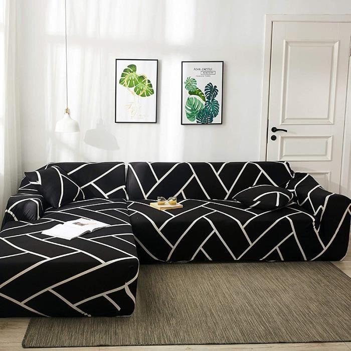 Housse De Canapé À Motif Géométrique en Treillis en Forme De L Simple Extensible Moderne, Coussin De Canapé Tout Compris Lavable Uni