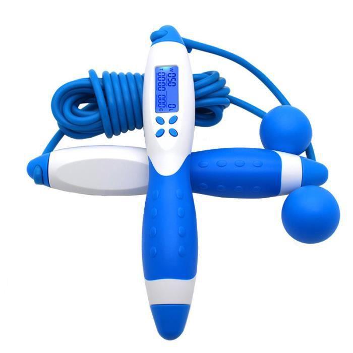 Corde à Sauter Réglable pour Fitness(Type sans corde+Type de corde)Multifonctionnel Avec Compteur Électronique -641 Bleu+Blanc