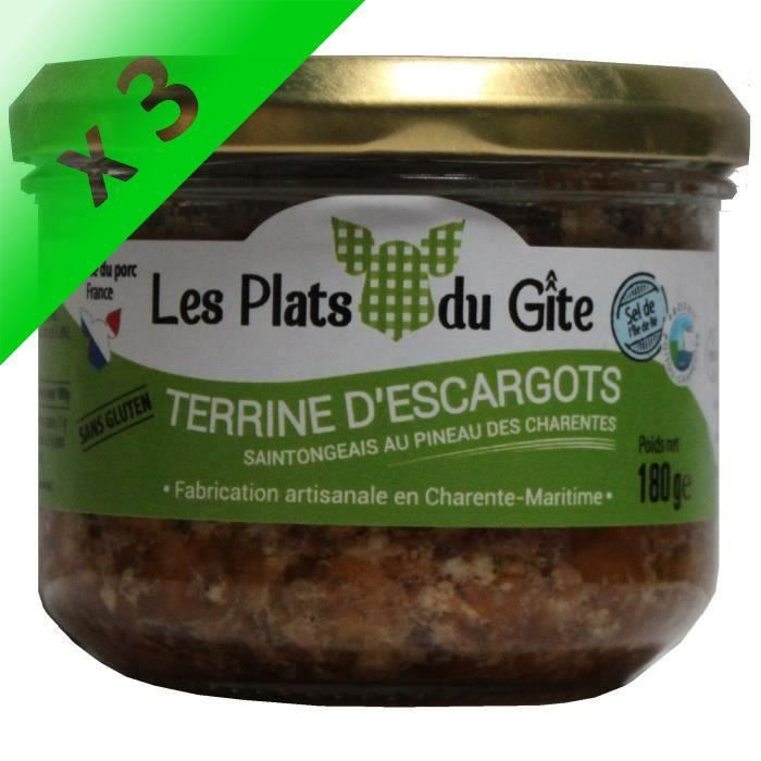 [LOT DE 3] LES PLATS DU GITE Terrine d'Escargots au Pineau des Charentes - 180 g