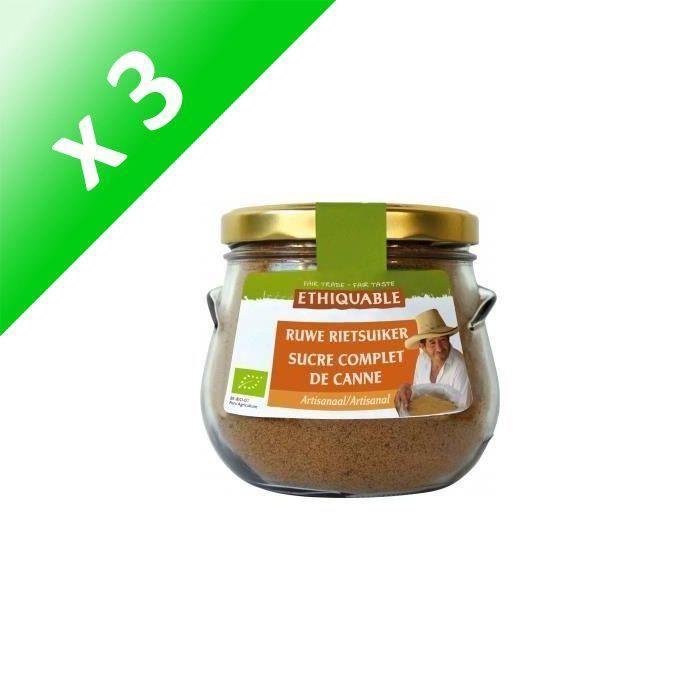 [LOT DE 3] ETHIQUABLE Bocal sucre complet de canne - 500 g