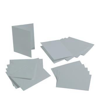 Lot de 5 Cartes double rectangulaires et enveloppes, Format A6, 10,5 cm x 15 cm - Argenté