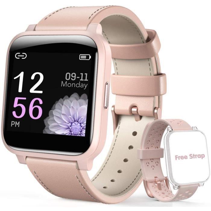 Montre Connectée Femme Smartwatch Sport Etanche IP67 Bracelet Connecté Fréquence Cardiaque/Rappels Cycle Féminin pour iPhone Samsung