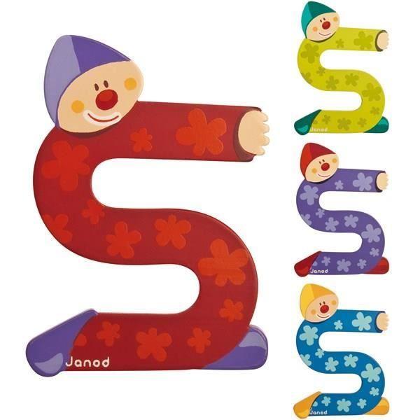 JANOD Lettre décorative Clown S en bois
