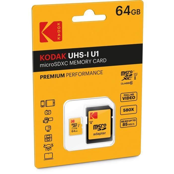 Kodak Class10 U1 Carte mémoire Microsdhc 64 Gb Avec adaptateur
