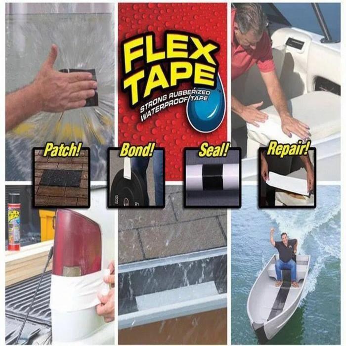 Bande Adhésive Ruban Hydrofuge et Imperméable résistante Flex Tape 30cmxx152cm