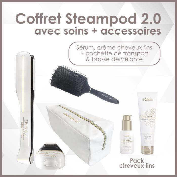 L'oreal - Pack Steampod - cheveux fins avec une trousse de rangement glossy hairprice + crème fins et sérum