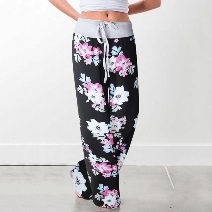 Pantalon de survêtement confortable extensible à imprimé floral avec cordon de serrage pour femme printemps Noir