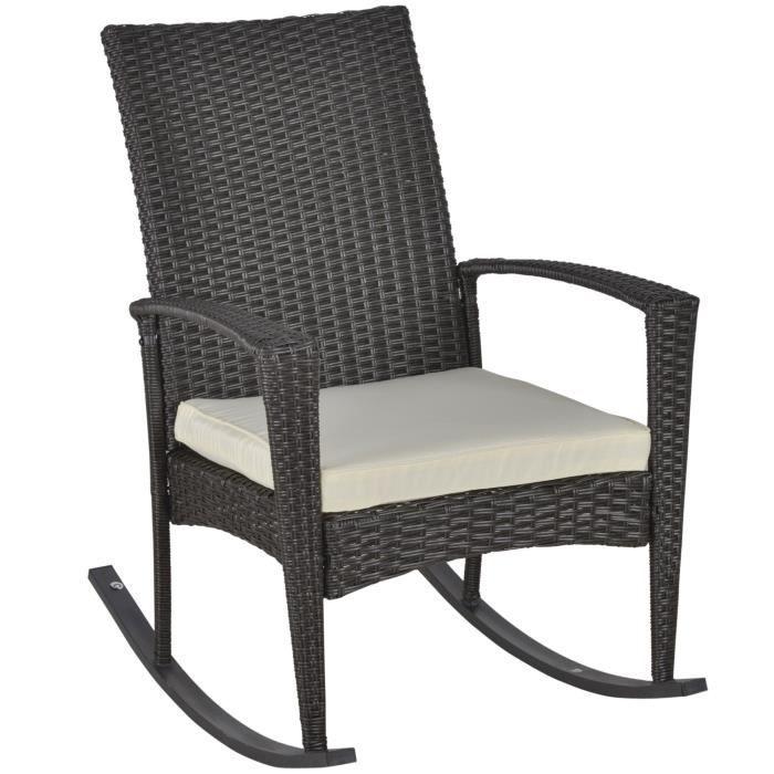 Fauteuil à bascule rocking chair avec coussin d'assise déhoussable 66L x 88l x 98H cm résine tressée imitation rotin chocolat 20