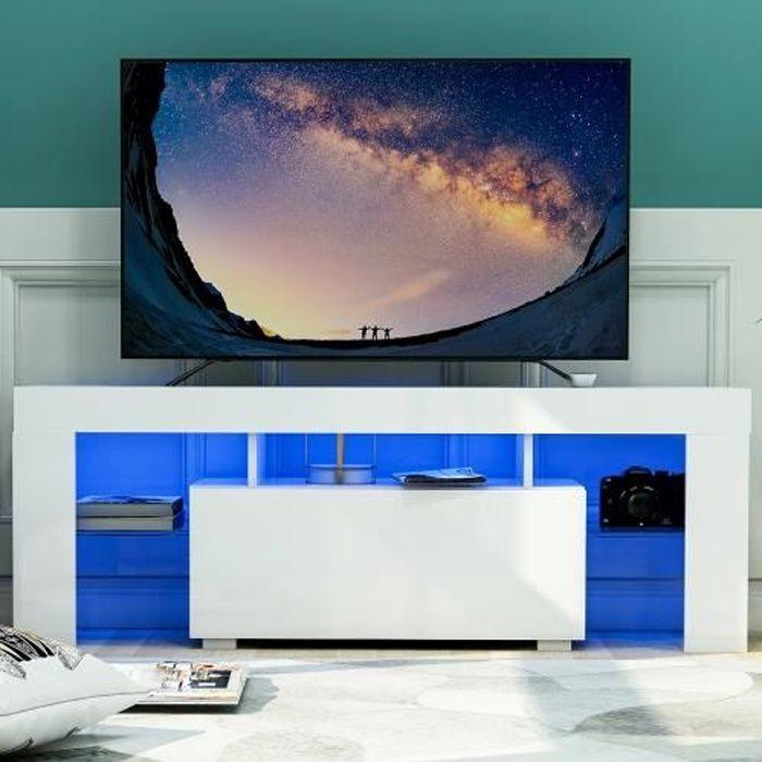 Meuble à TV avec LED lumière avec tiroir - 130*35*45cm - Blanc Panneau principal MDF
