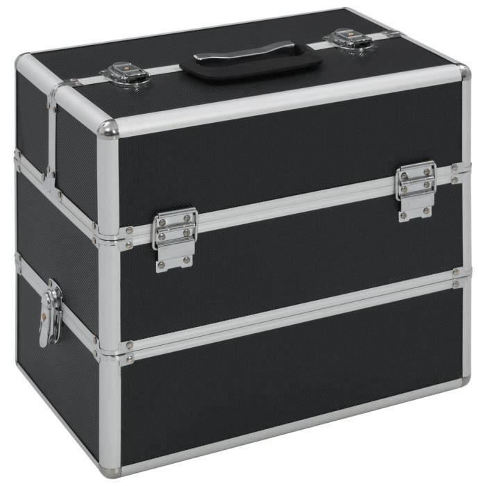 Economique Boîte à maquillage Mallette à maquillage 37x24x35 cm Noir Aluminium
