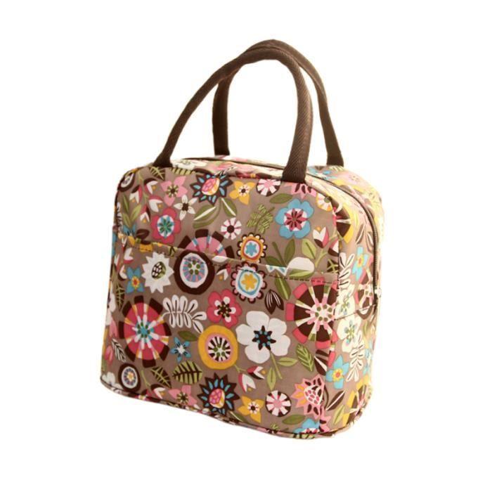 1pc sac à lunch pratique motif de fleurs toile Durablel à étanche pour les étudiants - BOITE A REPAS