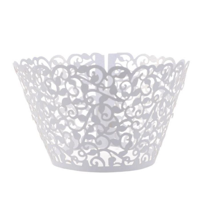 50Pcs Caissettes Cupcake en Papier Moules Décoratifs pour Gâteaux Muffins Motif de Vigne de Dentelle -Gris argentéTB190145