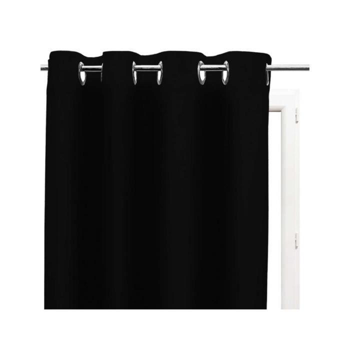 RIDEAU A OEILLETS 135x250 cm ALIX NOIR Infroissable