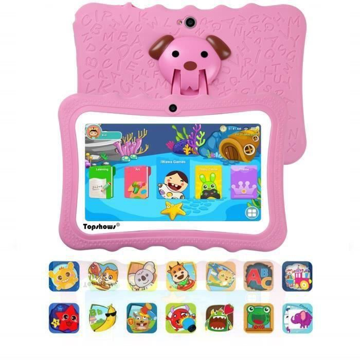 Tablette Tactile Enfants 16Go -TOPSHOWS 7''HD Tablette Éducative Enfants -RAM 1Go -Quad Core -Android -Rose