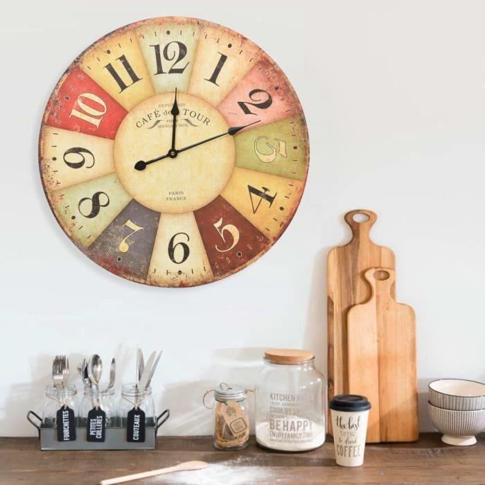 Horloge murale vintage Colorée 60 cm DBA