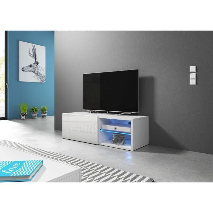 VIVALDI Meuble TV - HIT 2 - 100 cm - blanc mat / blanc brillant avec LED - style design