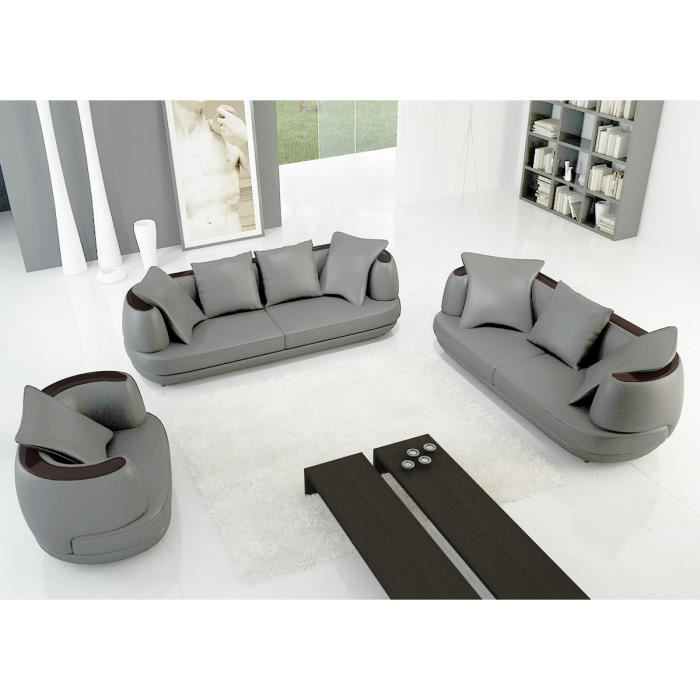 ensemble canap 3 2 1 places en cuir gris clair diego achat vente canap sofa divan. Black Bedroom Furniture Sets. Home Design Ideas