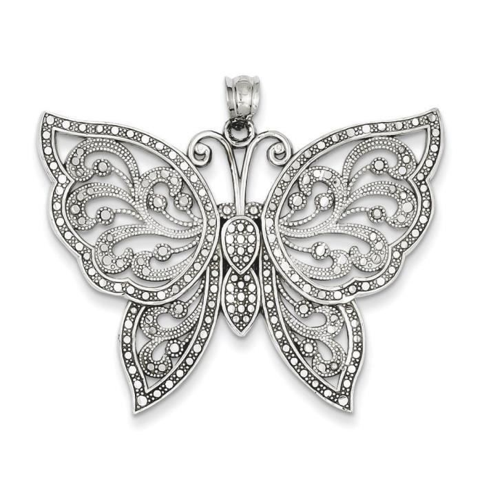 Or blanc 14 carats taille diamant pendentif Papillon