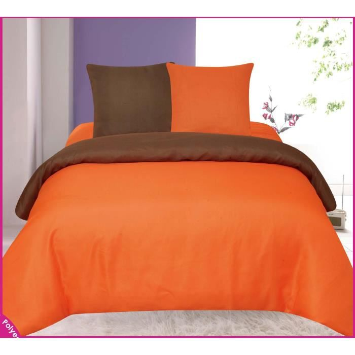 parure de draps orange et chocolat bicolore tendre nuit 2 places achat vente parure. Black Bedroom Furniture Sets. Home Design Ideas