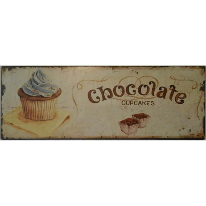Plaque d corative m tal cupcakes vintage 13x36 cm achat for Plaque murale decorative metal