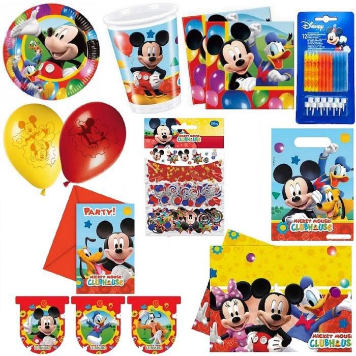 Kit d coration anniversaire complet mickey pour 8 achat for Decoration maison mickey