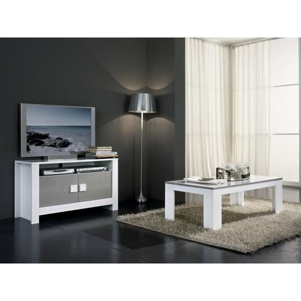 Ensemble 2 l ments laque blanc gris meuble t l table for Meuble tele gris et blanc