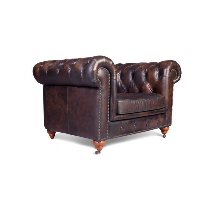 fauteuil chesterfield vintage cuir vieilli achat vente fauteuil marron cdiscount. Black Bedroom Furniture Sets. Home Design Ideas