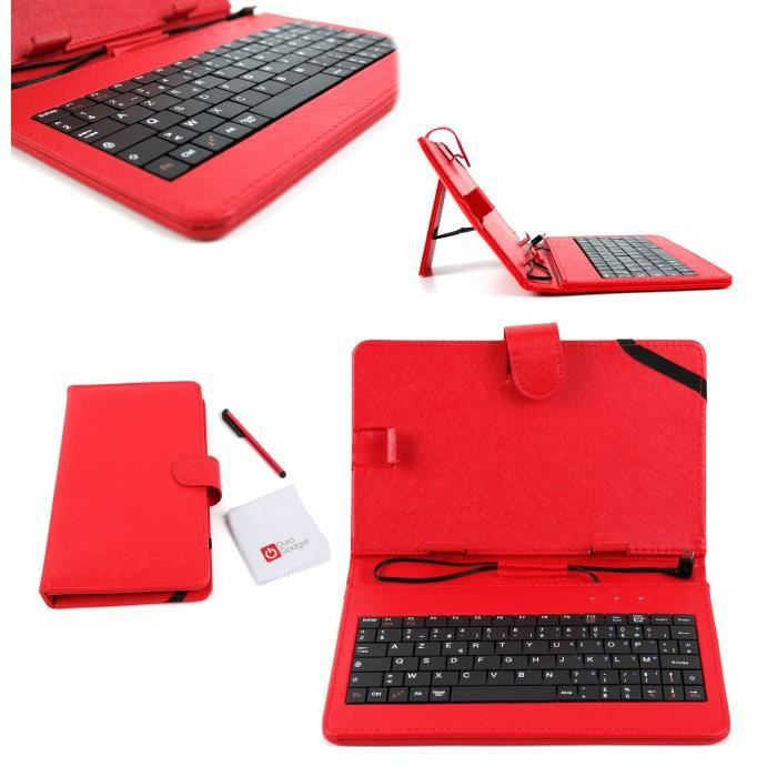 Etui rouge clavier int gr azerty stylet tactile pour for Cuisine 3d tablette