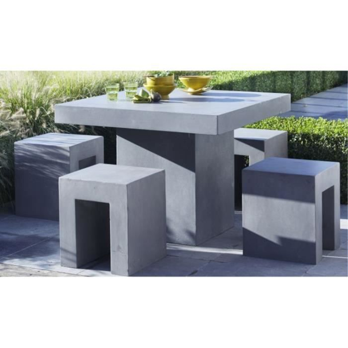 Salon de jardin beton cire 4 places 95x95x75cm achat for Salon de jardin en beton cire