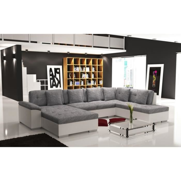 canap d 39 angle panoramique tissu gris et simili cuir blanc. Black Bedroom Furniture Sets. Home Design Ideas
