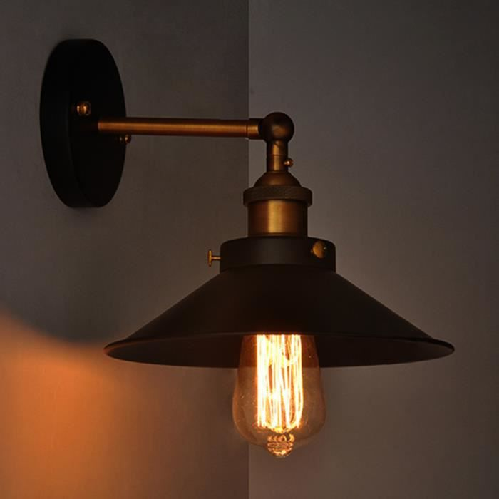 Lampe Industrielle Black Metal Umbrella Vintage Loft Mur Luminaires
