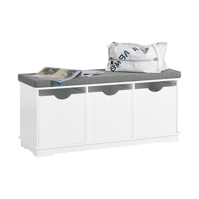 sobuy fsr30 w banc de rangement meuble d entree a chaussures avec 3 cubes et coussin rembourre confortable blanc
