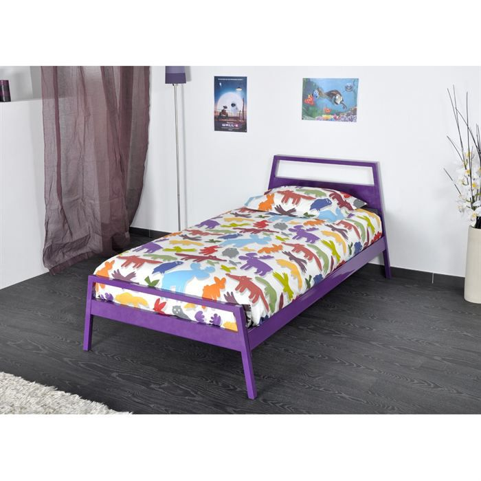 yuca lit enfant 90x190 violet achat vente structure de lit yuca lit 90x190 violet soldes. Black Bedroom Furniture Sets. Home Design Ideas