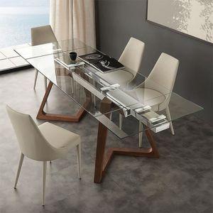 TABLE À MANGER SEULE Table extensible en verre et bois design TOSCA  18