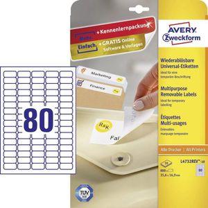 Étiquette classement Etiquettes universelles Avery-Zweckform L4732REV-1