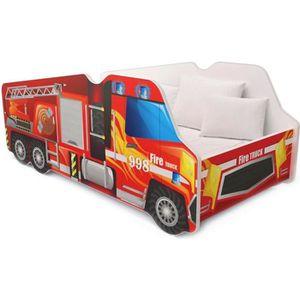 LIT COMPLET Lit Camion Pompier pour Enfant 140x70 rouge + mate