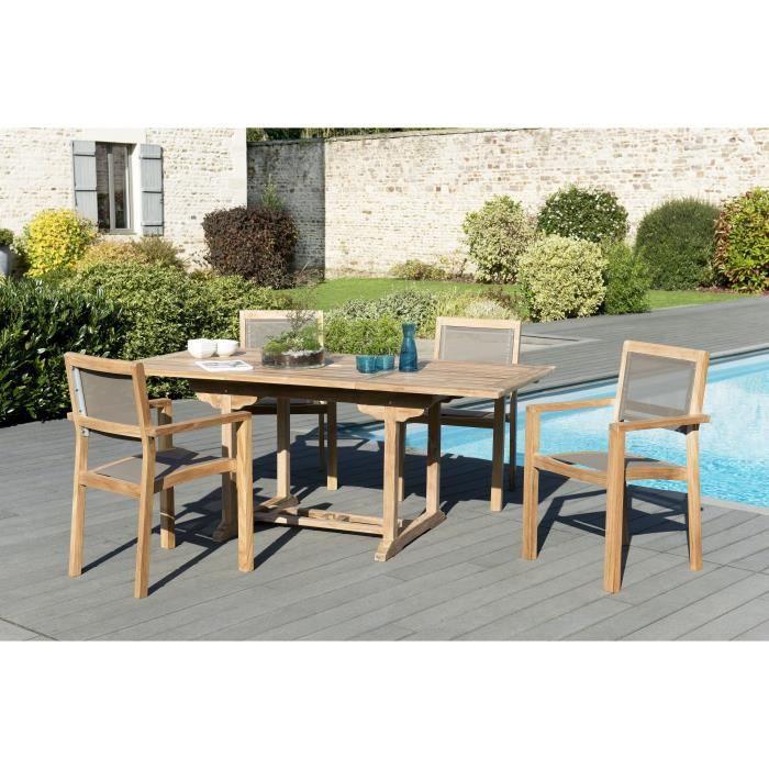 Ensemble de jardin en teck : 1 table rectangulaire 120 / 180 x 90cm - 2 lots de 2 fauteuils empilables en textilène, couleur taupe J