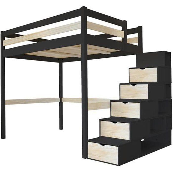 Lit Mezzanine Sylvia avec escalier cube bois - Couleur - Noir/Vernis naturel, Dimensions - 140x200