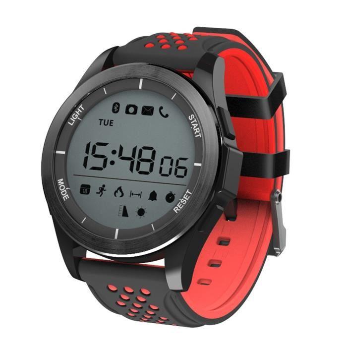 NO.1 F3 montres connectées smartwatch NOIR ET ROUGE Sports Bluetooth 4.0 IP68 étanche caméra à distance rappel sédentaire podomètre