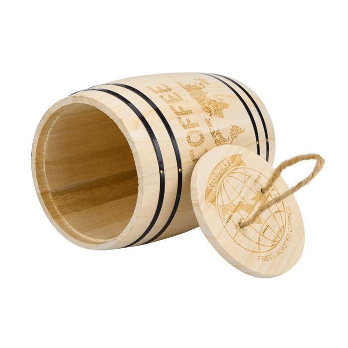 【1 seau à grains de café】Récipient hermétique frais de grain de café en bois pour les grains de café xiao3639