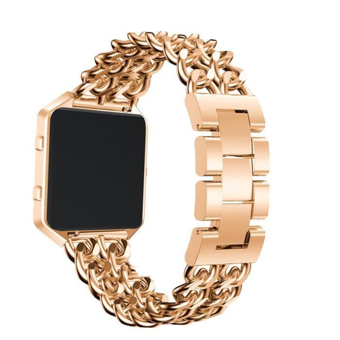 bracelet de montre vendu seul Bracelet de montre de remplacement en acier inoxydable avec cadre en métal pour Fitbit Blaze