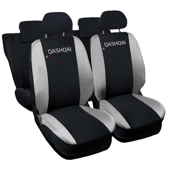 Housses de siège deux-colorés pour Qashqai - noir gris clair